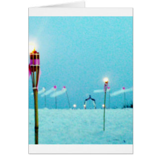 Wedding Postage Beach Scene Greeting Card