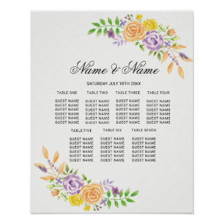 Wedding Poster Seating Purple Floral Flowers Sign