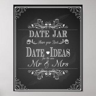 "Wedding print ""Date jar"" vintage chalkboard"