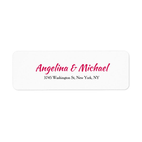 Wedding Professional Creative Script  White Modern Return Address Label