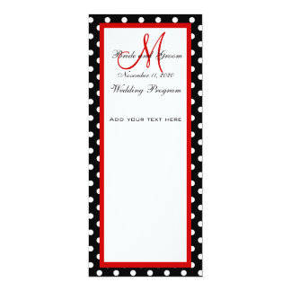 Wedding Program Black White Polka Dots