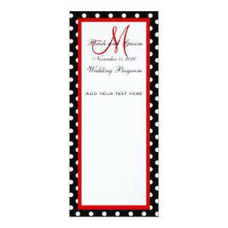 Wedding Program Black White Polka Dots 10 Cm X 24 Cm Invitation Card