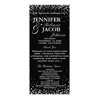 Wedding Program | Black with White Stars Personalized Rack Card