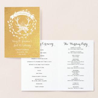 WEDDING PROGRAM Boho Deer Antler Forest Typography Foil Card