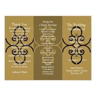Wedding Program Brochure Gold Brown Curl 17 Cm X 22 Cm Invitation Card