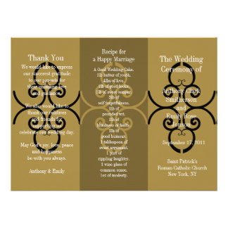 Wedding Program Brochure Gold Brown Curl Personalized Announcement