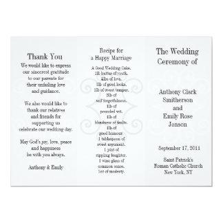 Wedding Program Brochure Grey Curl Personalized Invite
