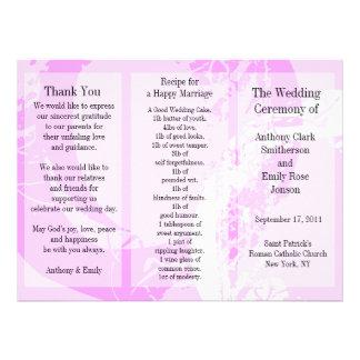 Wedding Program Brochure Pink Ring Personalized Invitation