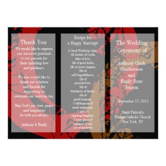 Wedding Program Brochure Red Brown Ring Invite