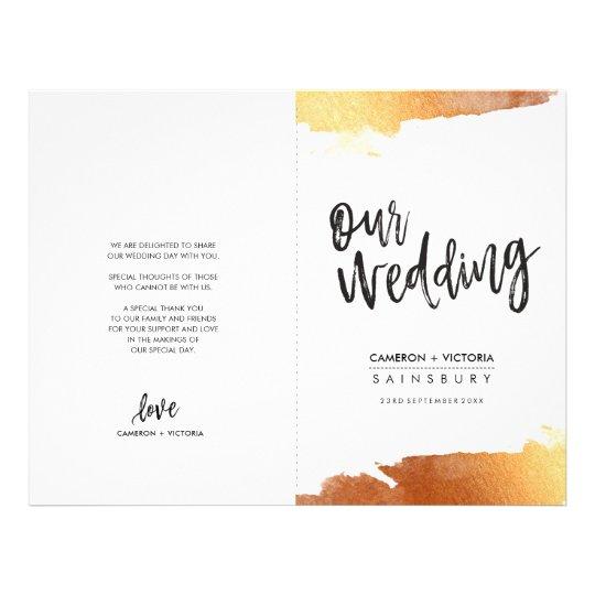 WEDDING PROGRAM brush lettering luxe gilded copper Flyer