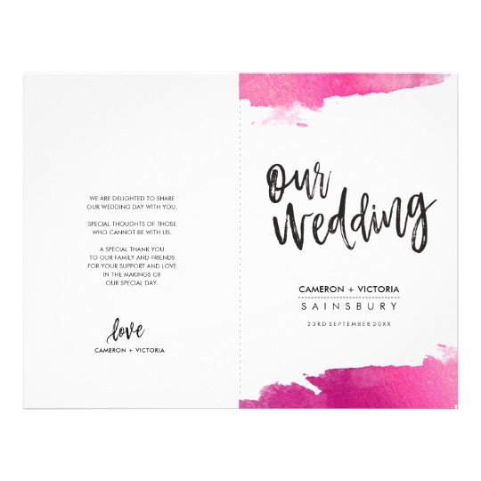 WEDDING PROGRAM brush lettering luxe gilded pink Flyer