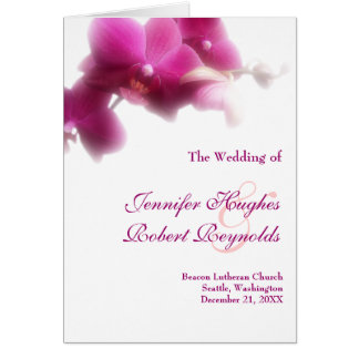 Wedding Program Card - Pink Orchid collection