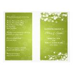 Wedding Program Cherry Blossom Lime Green Personalized Flyer