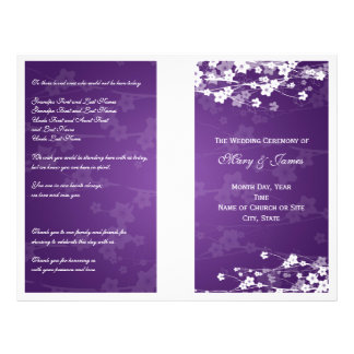 Wedding Program Cherry Blossom Purple Flyer