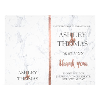 Wedding program cover rose gold typography marble flyer