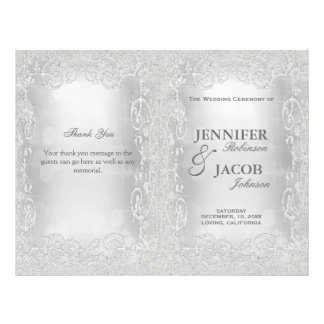 Wedding Program Elegant Silver Faux Glitter Flyer