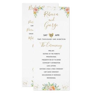 Wedding program floral blush and gold elegant