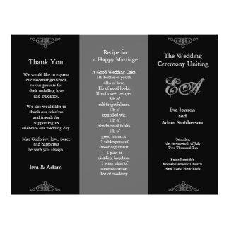Wedding Program Folder Classic Dark Grey Flyer