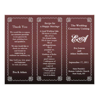 Wedding Program Folder Dark Chocolate 21.5 Cm X 28 Cm Flyer
