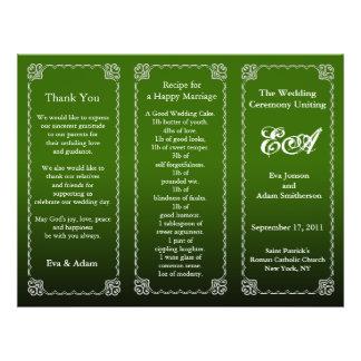 Wedding Program Folder Dark Green 21.5 Cm X 28 Cm Flyer