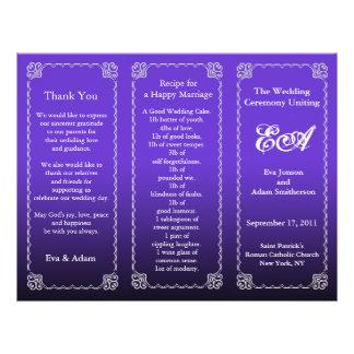 Wedding Program Folder Dark Purple 21.5 Cm X 28 Cm Flyer