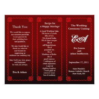 Wedding Program Folder Dark Red 21.5 Cm X 28 Cm Flyer