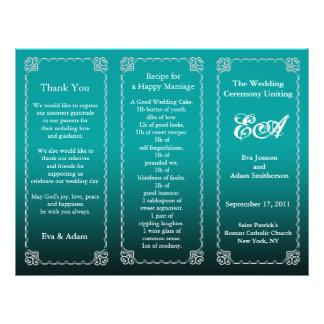 Wedding Program Folder Dark Teal 21.5 Cm X 28 Cm Flyer