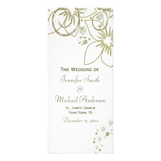 Wedding Program for Green and Gold Simple Wedding Rack Card