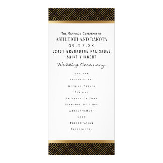 Wedding Program | Formal Golden Geometric on Black Rack Card