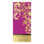 Wedding Program - Fuchsia Pink Gold Shimmer Floral Personalised Rack Card