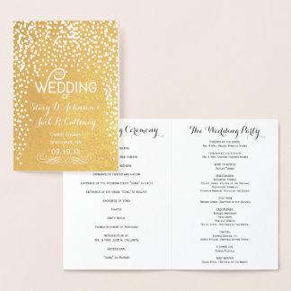 WEDDING PROGRAM Gold Confetti Typography Foil Card