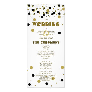 Wedding Program Golden Black Dots Stripes Modern Rack Card