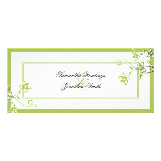Wedding Program - Green & White Delicate Floral Rack Card