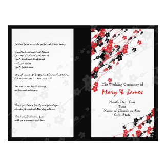 Wedding Program  Japanese Flowers Red Flyer