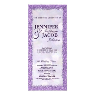 Wedding Program | Lavender with Glitter Frame Rack Card