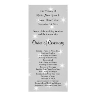 Wedding Program, Pale Gray with White Stars. Personalized Rack Card