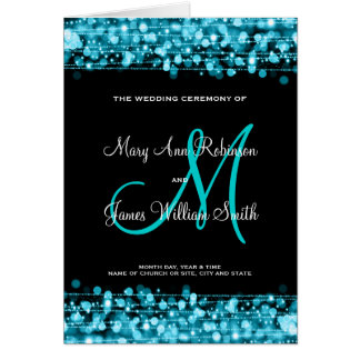 Wedding Program Party Sparkles Turquoise Card