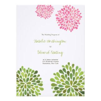 Wedding Program Pink Green Flower Blooms Personalized Invitations