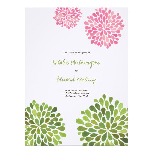 Wedding Program Pink Green Flower Blooms Personalized Invitations