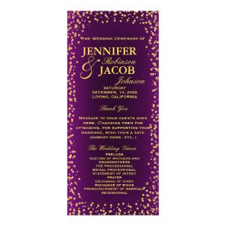 Wedding Program | Purple and Gold Confetti Rack Card