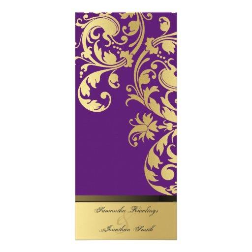Wedding Program - Purple & Gold Shimmer Floral Rack Cards