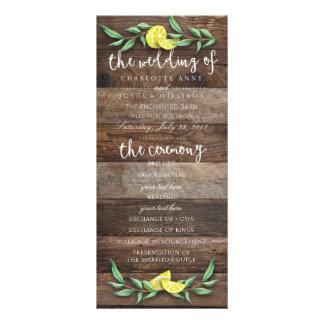 WEDDING PROGRAM | Rustic Wood Lemon Watercolor Rack Card