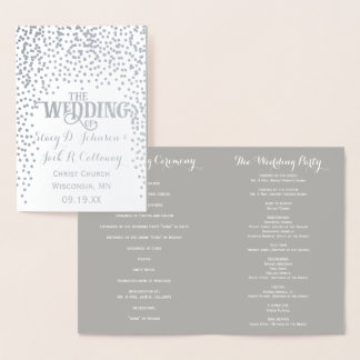 WEDDING PROGRAM Silver Foil Wedding Confetti Foil Card