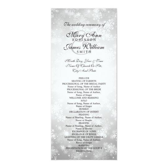 Wedding Program Silver Winter Wonderland Sparkle