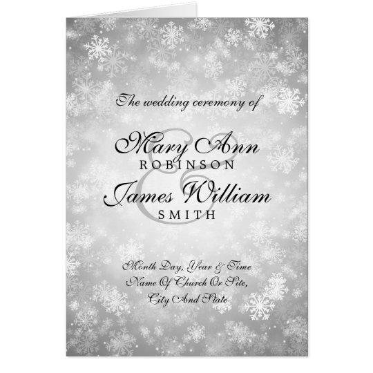 Wedding Program Silver Winter Wonderland Sparkle Card