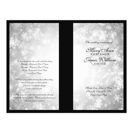Wedding Program Silver Winter Wonderland Sparkle Flyer