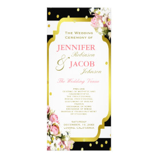 Wedding Program | Stripes, Roses, Gold Confetti Full Colour Rack Card