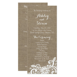 Wedding Program with Burlap and Lace