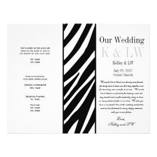 Wedding Program Zebra Stripes Pattern Black 21.5 Cm X 28 Cm Flyer