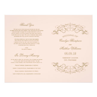 Wedding Programs | Antique Gold Flourish 21.5 Cm X 28 Cm Flyer